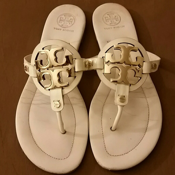 9cd743dfd43ad6 Tory Burch Shoes - Tory Burch Miller Leather Sandals White and Gold
